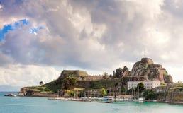 Ciudadela o fortaleza vieja en la ciudad de Corfú fotografía de archivo libre de regalías