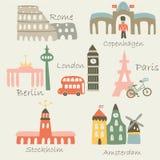 Ciudades brillantes de Europa Fotos de archivo libres de regalías