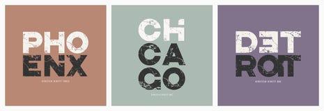 Ciudades camiseta de Phoenix Chicago Detroit y grunge del vector de la ropa stock de ilustración