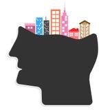 Ciudades creativas abstractas de las ideas en el concepto de las cabezas de la gente Fotografía de archivo libre de regalías