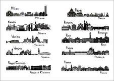 10 ciudades de Italia - signts de la silueta foto de archivo