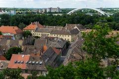 Ciudades de Novi Sad y de Petrovaradin Fotografía de archivo libre de regalías