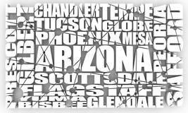 Ciudades del estado de Arizona stock de ilustración