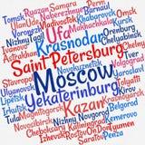 Ciudades en nube de la palabra de Rusia Imagen de archivo libre de regalías