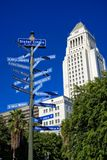 Ciudades hermanas Los Ángeles y ayuntamiento Imagenes de archivo