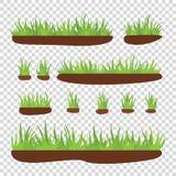 Ciuffi di erba con terra su un fondo trasparente Fotografia Stock