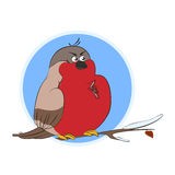 Ciuffolotto di vettore Un uccello divertente su un ramo coperto di neve Fotografie Stock