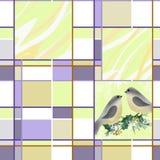 Ciuffolotto sul ramo del fondo della cartolina di Natale di saluto dell'agrifoglio Fotografia Stock