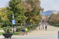 Ciutadella公园的主要步行 免版税库存照片