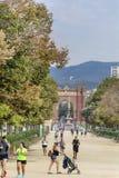 Ciutadella公园的主要步行 库存图片