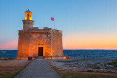 Ciutadella Castell de Sant Nicolas sunset Castillo San Nicolas Royalty Free Stock Photo