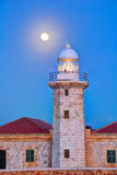 Ciutadella Menorca蓬塔Nati灯塔月亮亮光 库存图片