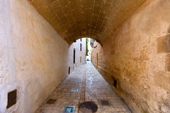 Ciutadella Menorca barrel vault passage downtown Royalty Free Stock Image