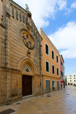 Ciutadella Menorca carrer Mao church downtown Royalty Free Stock Image