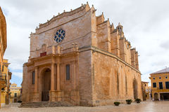Ciutadella Menorca Cathedral in Ciudadela at Balearic stock photo
