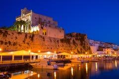 Ciutadella Menorca city town Hall and Port sunset Royalty Free Stock Image