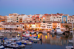 Ciutadella Menorca marina Port sunset with boats Royalty Free Stock Photos