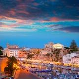 Ciutadella Menorca marina Port sunset town hall and cathedral Royalty Free Stock Image