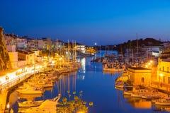 Ciutadella Menorca marina Port sunset town hall and cathedral Royalty Free Stock Photography