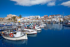 Ciutadella Menorca marina Port view Town hall Stock Photography