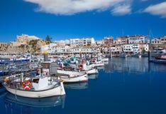 Ciutadella Menorca marina portu widoku urząd miasta Fotografia Stock