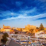 Ciutadella Menorca Port town hall and cathedral Stock Image