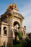 Ciutadella park. The Cascada Fountain, a golden charriot with four horses and several greek statues Royalty Free Stock Photos