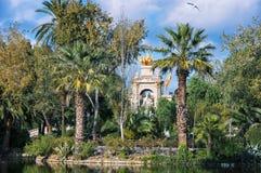 Ciutadella Park, Barcelona. Golden Statue of Aurora and Fountain in Ciutadella Park, Barcelona, Spain Royalty Free Stock Photos