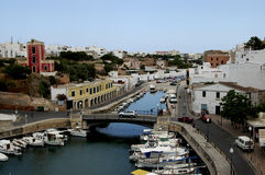 Ciutadella port Menorca Spain. Minorca view on Ciutadella port with sailing boats and bridge Menorca Stock Images
