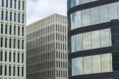 Ciutat de la Justicia, Barcelona. Detail of city justice - Ciutat de la Justicia -  in Barcelona with a private office skyscraper Stock Images