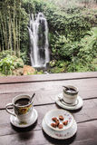 Civet coffe with waterfall - Bali,  Indonesia Stock Photography