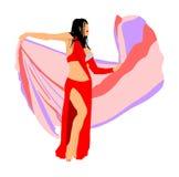 Civetta della donna del ballerino di pancia, ballo orientale di spettacolo arabo tradizionale Signora erotica del movimento sensu illustrazione di stock