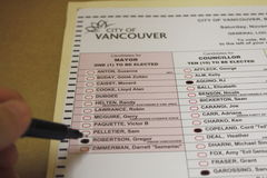 Civic Ballot. Marking a ballot for the Vancouver 2011 Civic election Royalty Free Stock Photography