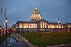 Civic Center San Francisco. San Francisco Civic Center illuminated at night.with a reflection after a rain Royalty Free Stock Photography