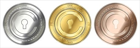 Civic CVC coin set. Gold, silver and bronze Civic CVC cryptocurrency coin. Civic CVC coin set Royalty Free Stock Photo