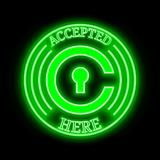 Civic CVC accepted here sign. Civic CVC green  neon cryptocurrency symbol in round frame with text `Accepted here Stock Photos