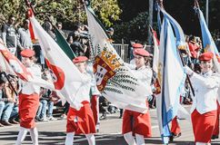 Civic Parade at Campo Grande MS, Brazil. Campo Grande, Brazil - August 26, 2018: Civic Parade desfile civico at 13 de Maio street. People from CMCG at the royalty free stock images