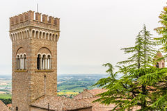Civic tower in the medieval village of bertinoro Stock Image