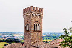 Civic tower in the medieval village of bertinoro Stock Photos