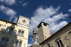 The Civic Tower and the Town Hall Clock in Belluno Royalty Free Stock Images