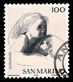 Civic Virtues by italian sculptor and Emilio Greco. SAN MARINO - CIRCA 1976: A stamp printed in the San Marino shows allegories of the Altruism by italian stock photography