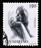 Civic Virtues by italian sculptor and Emilio Greco. SAN MARINO - CIRCA 1976: A stamp printed in the San Marino shows allegories of the Hope by italian sculptor royalty free stock images