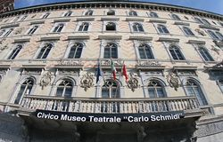 Civico Museo Teatrale Carlo Schmidl 2019. Civico Museo Teatrale Carlo Schmidl building 2019.nFrom the bottom it`s painted. We see a lot of windows. And three stock image