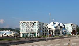 Cividale Del Friuli, Italien - 25. April 2018: Futuristischer Bezirk baute um den neuen Sitz von Civibank auf Lizenzfreies Stockbild