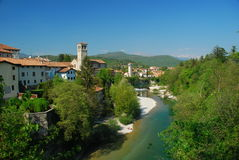 Cividale del Friuli, Italy. Cividale del Friuli, town landscape and river Natisone, province of Udine, Italy Royalty Free Stock Image