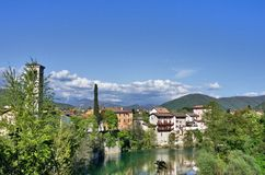 Cividale del Friuli and Natisone river. A view of the beautiful town of Cividale del Friuli in the region of Friul, in the north-east of Italy, a Unesco World Stock Image