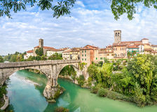Cividale del Friuli with river and Devils bridge Royalty Free Stock Photos