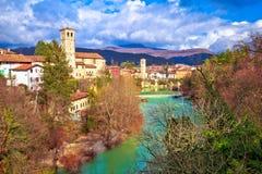 Cividale del Friuli sulle scogliere del canyon del fiume di Natisone Fotografia Stock Libera da Diritti