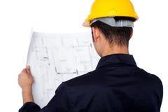 Civiel-ingenieur het herzien blauwdruk Stock Afbeeldingen