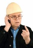 Civiel-ingenieur met de telefoon. Stock Fotografie